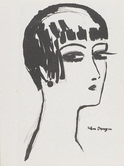 Kees Van Dongen(1877-1968) Les cheveux courts. Lithographie. 1926.