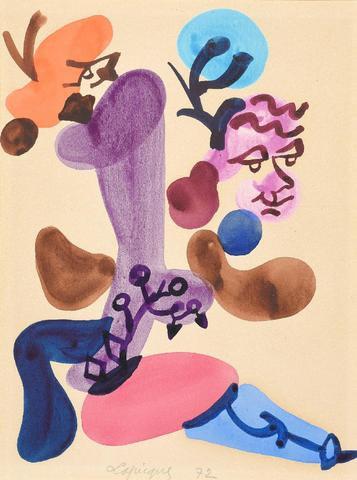 Charles LAPICQUE (1898-1988) Composition. Aquarelle signée.