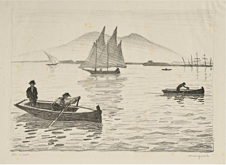 Albert Marquet .Le Port de Naples, 1926, lithographie signée.