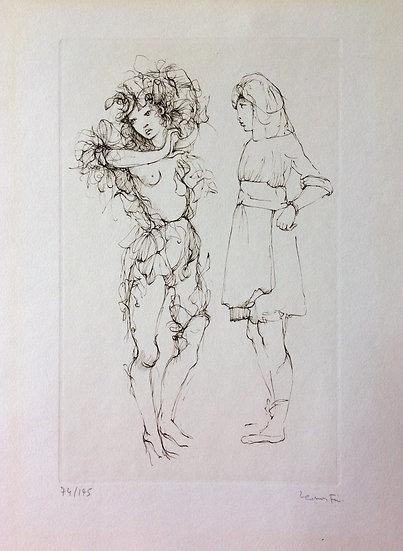 Leonor Fini (1908-1996). Deux personnages. Eau-forte. Signé.