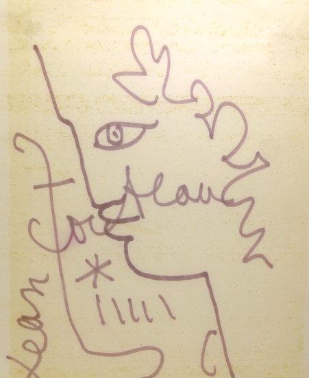 Jean Cocteau (1889-1963) Profil d'Ephèbe. Dessin au feutre signé.