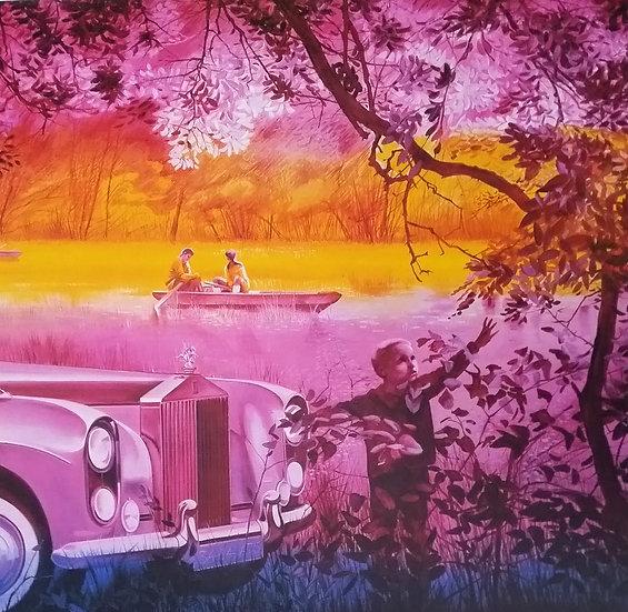 Jacques Monory (1924-2018). Rolls Royce. Lithographie signée et numérotée.