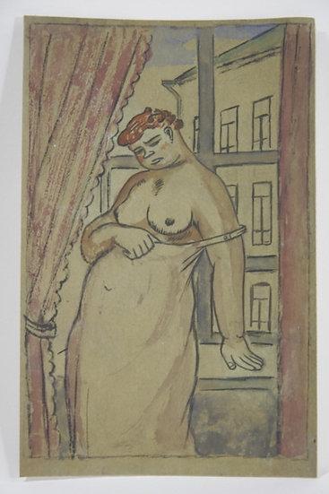 Jean Lébédeff (1884-1972). Femme à la fenêtre. Encre et aquarelle.