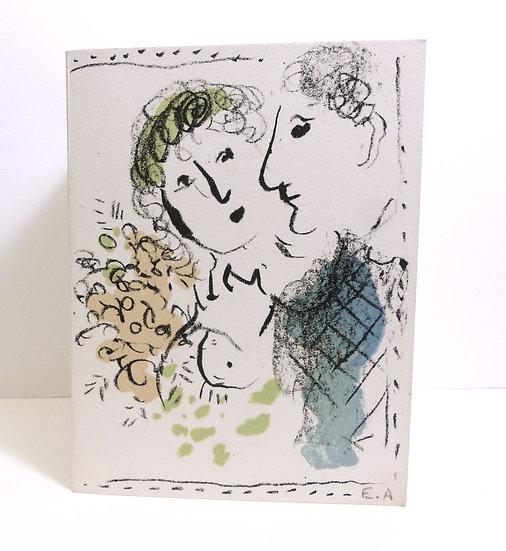 Marc Chagall - Carte de voeux 1980. Lithographie originale.