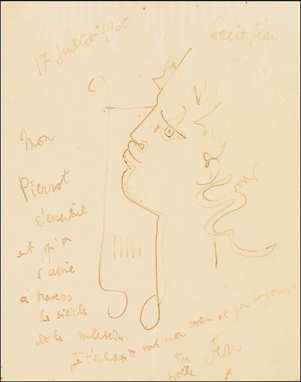 Jean Cocteau ( 1889-1963).Orphée à la lyre, 1960. Dessin