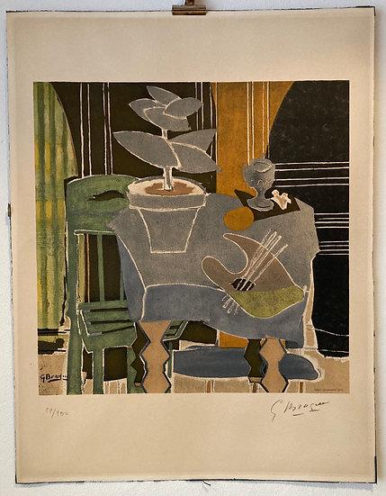 Georges Braque (1882-1963) Nature morte à la palette, 1960. Lithographie signée.
