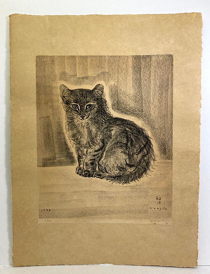 Foujita. Chat assis, lithographie signée. 1926