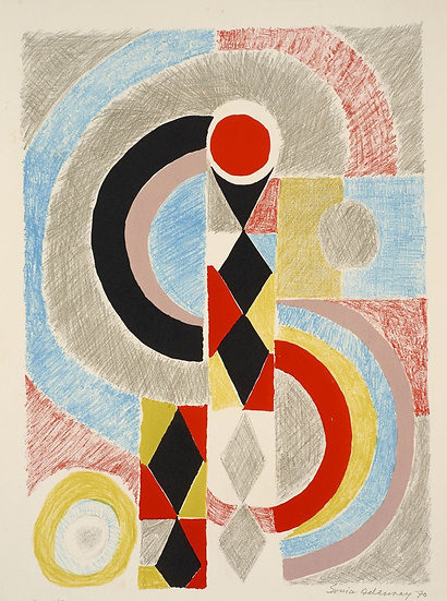 Sonia Delaunay(1885-1979). Totem. Lithographie signée. 1970.