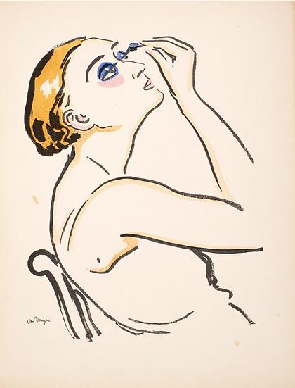 Van Dongen Kees (1877-1968). Le Rimmel, femme se maquillant. Pochoir, 1920