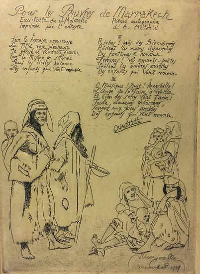 Jacques Majorelle (1886-1962).Pour les pauvres de Marrakech. 1927. Eau-forte.