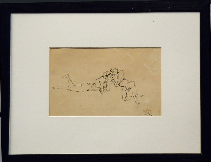 Jules Pascin. Couple allongé, vers 1922. Dessin.