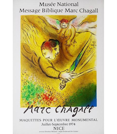 CHAGALL. L'ange du jugement – 1974. Affiche lithographiée.