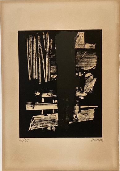 Pierre Soulages(né en 1919) : Lithographie n° 9, 1959. Signée.