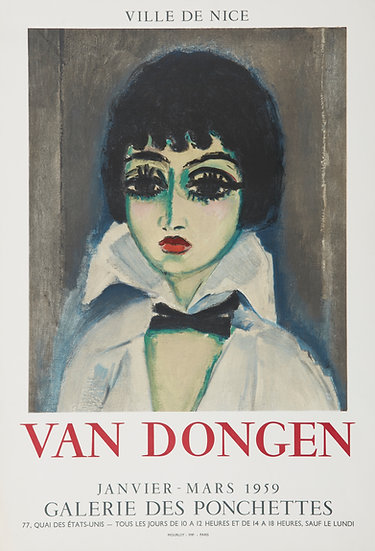 Kees Van Dongen (1877-1968). Affiche Galerie des Ponchettes. 1959. Lithographie.