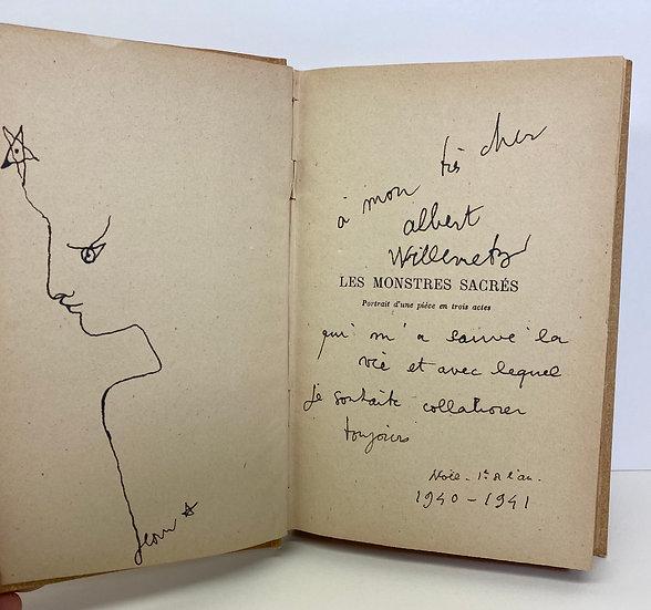 Jean Cocteau. Les monstres sacrés. 1940. Avec dessin originale.