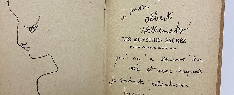 Jean Cocteau. Les monstres sacrés. 1940. Avec dessin original.