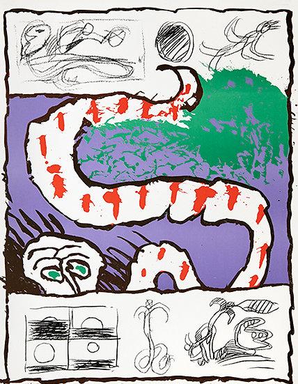 "Pierre Alechinsky (1927).""Peau neuve"",1973. Lithographie signée."