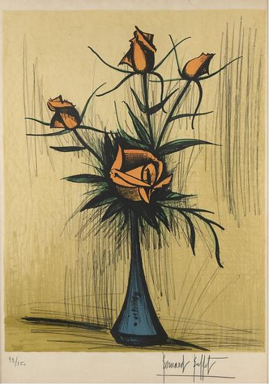 Bernard Buffet(1928 - 1999) Roses dans un vase bleu. 1979. Lithographie signée