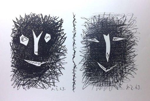 Picasso. Têtes de Faunes. Lithographie originale. 1963.