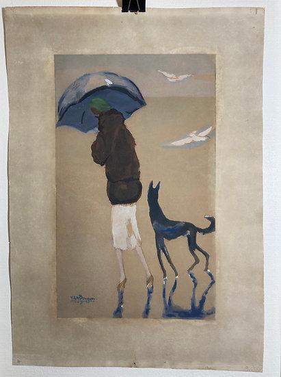 Kees Van Dongen(1877-1968). Femme au chien marchant sur la plage.  Vers 1925-19