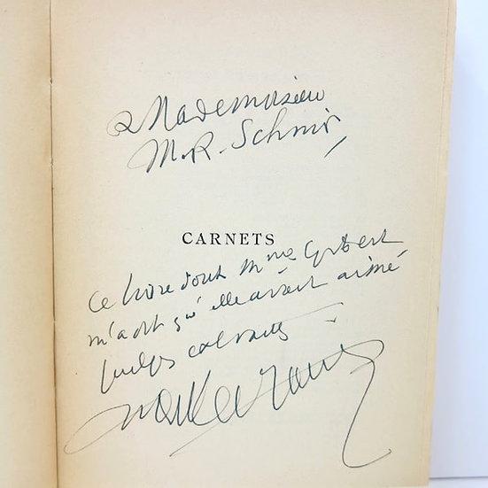 Henry de Montherlant. Carnets. Nrf, Gallimard. 1957. Dédicacé.