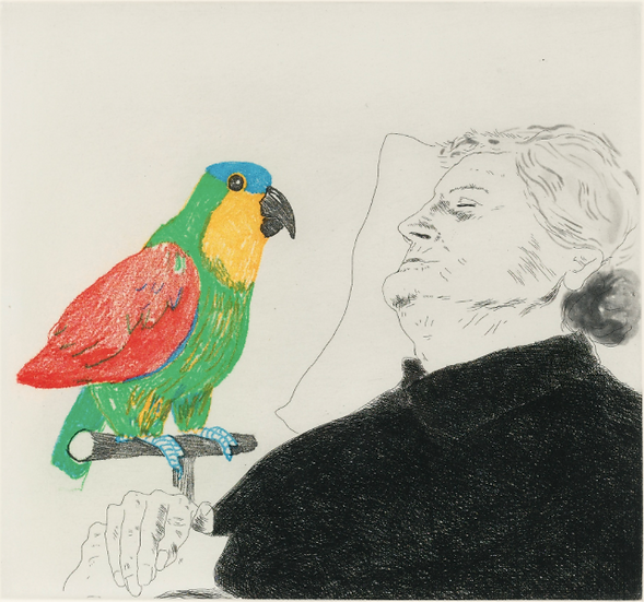 David Hockney (1937-). Félicité sleeping with Parrot. 1974. Eau-forte signée.