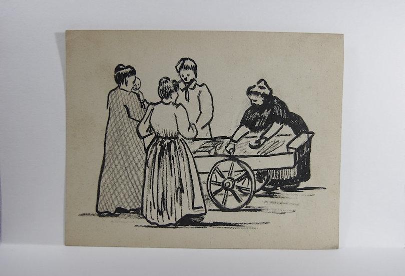 Jean Lébédeff (1884-1972). Estampe et dessins préparatoires.