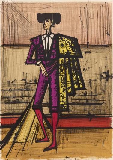 """Bernard Buffet(1928-1999) """"Torero"""",1966.Lithographie signée."""