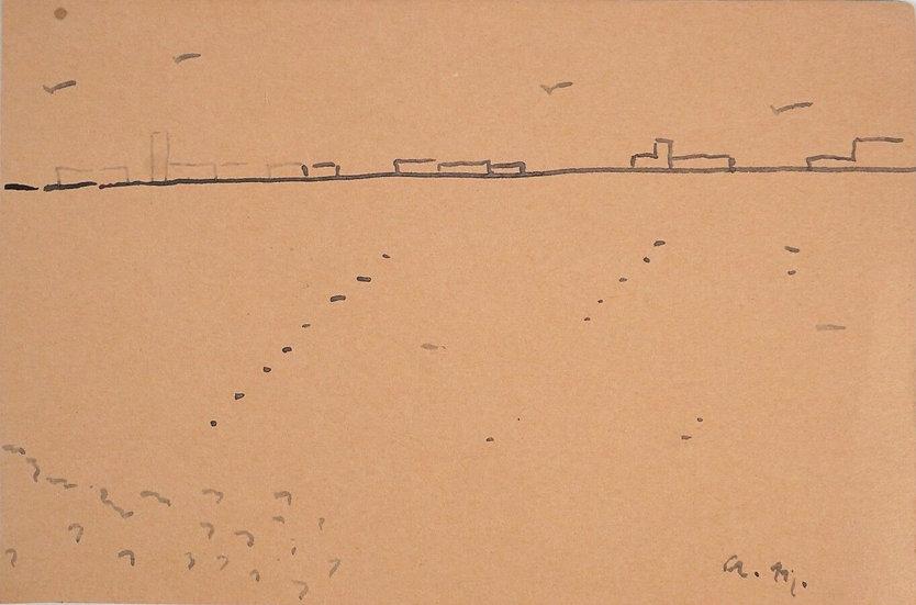 """Albert Marquet (1875-1947), """"Vue de port"""", dessin à l'encre sur papier,"""