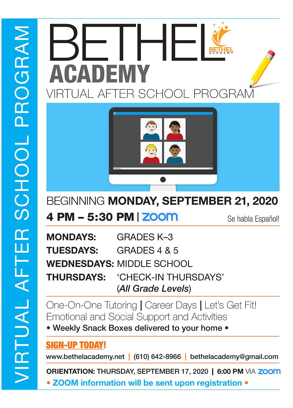 2020-2021 Bethel Academy Virtual After School Program Sign Up!
