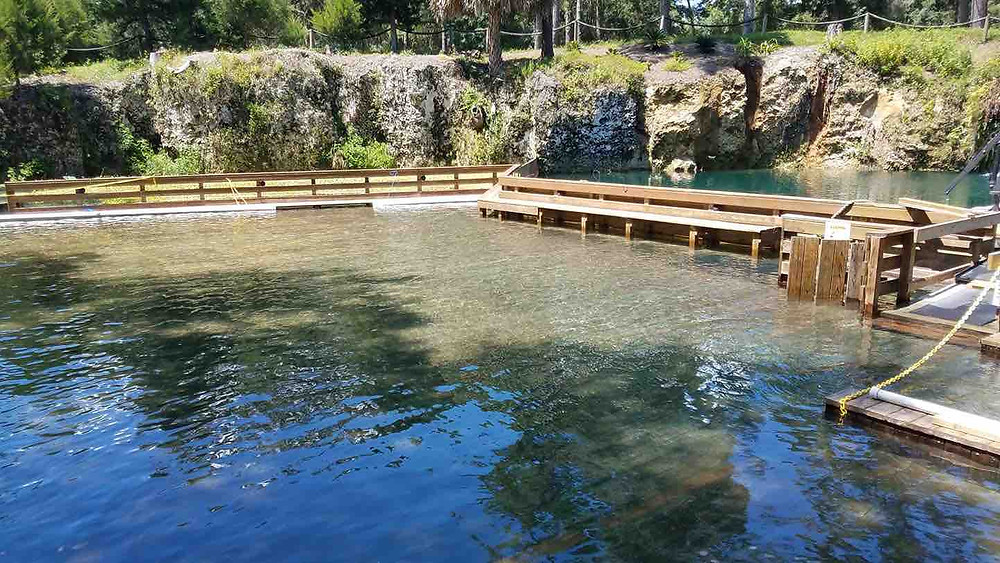 as of August 23rd this is the water levels at Blue Grotto after several days of heavy rain.