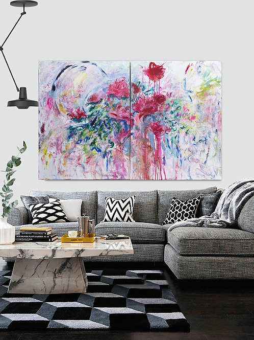 Duo of Abstract Original Paintings, Big Abstract Painting