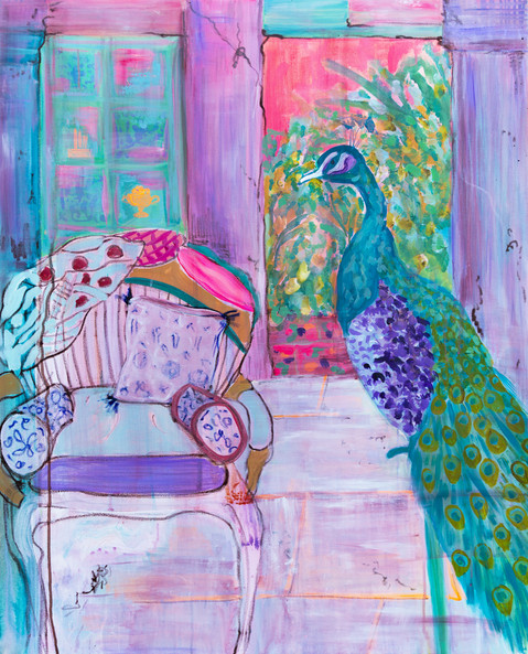 Peacock and chair - The Bohemian Palace