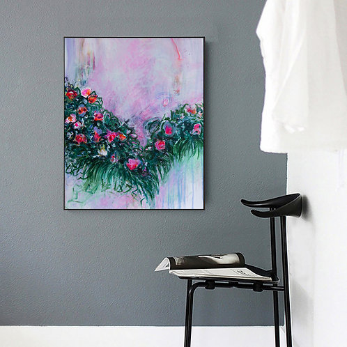 Original Abstract Flowers Painting