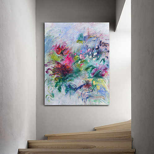 Abstract Original Painting, White with flowers
