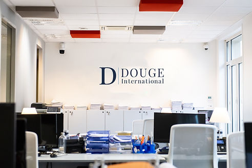 Office Space with logo decal printed on wall