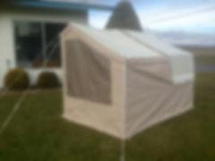 Kompact Kamp Mini Mate motorcycle camper interior bed with cushions