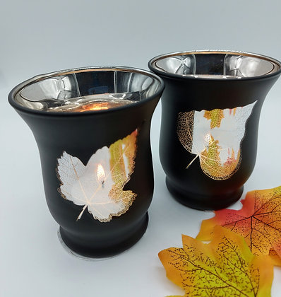 Autumn Leaves Mirrored Tealight Holder 9cm