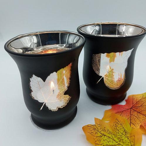 Autumn Leaves Mirrored Tealight Holder 9cm