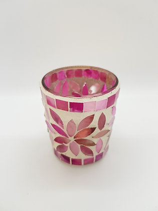Multi Pink Mosaic Tealight Holder 7cm