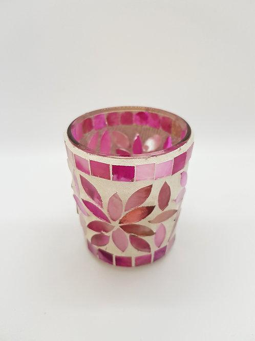 Multi Pink Mosaic Tealight Holder 7cm
