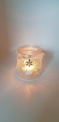 Frosted snowflake charm tealight jar