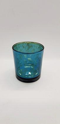 Blue Leaf Mirrored Tealight Holder 8cm