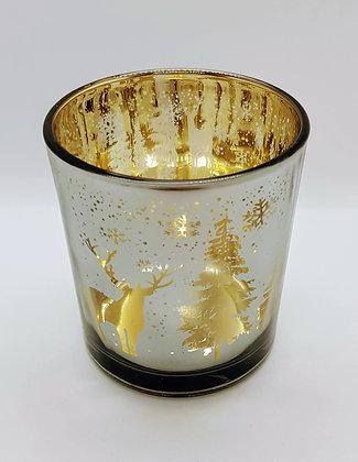 Gold and Smoke Grey Reindeer large tealight holder