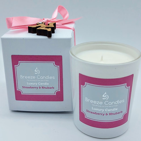 9cl Boxed Candle Jar - Strawberry & Rhubarb