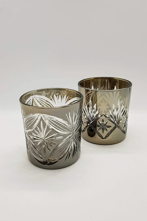 Etched Glass Tealight Pair 8cm