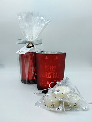 Red Merry ChristmasTealight Gift Set