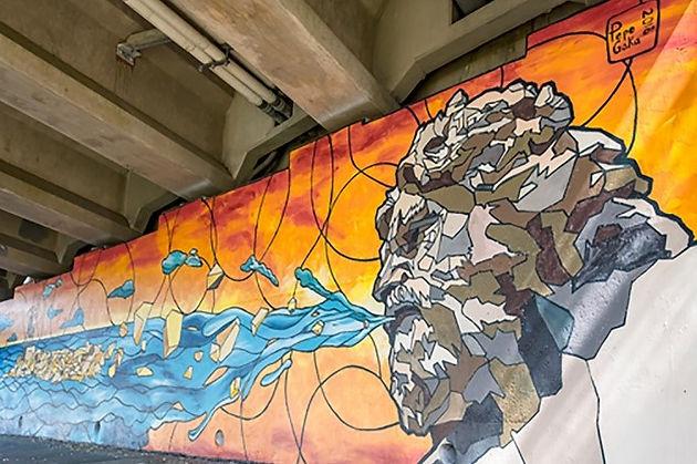 Italian artist Pepe Gaka's Rudee Inlet Loop murals create a
