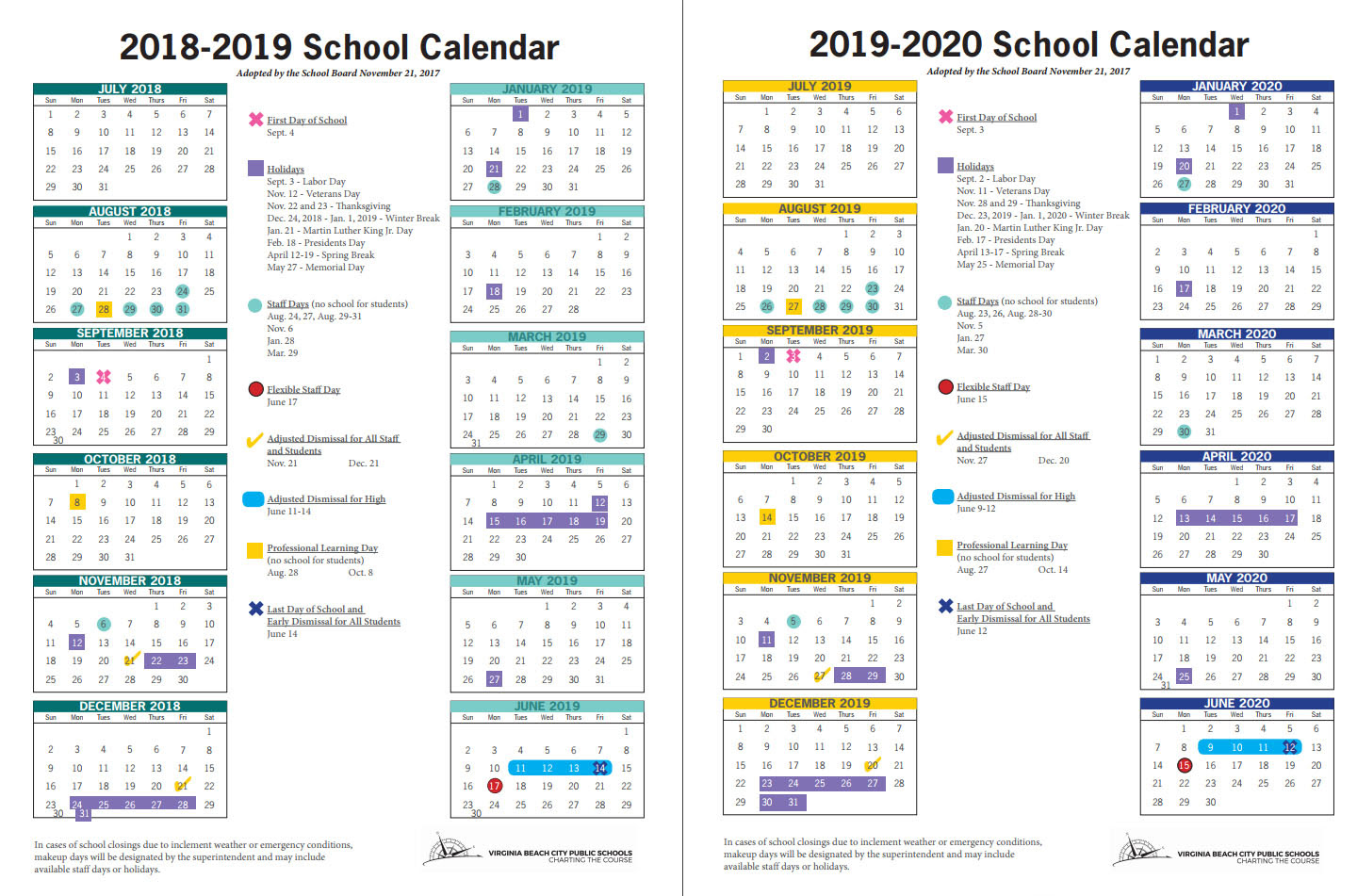 Virginia Beach Public Schools Calendar 2020 Two years of school calendars, with 181 instructional days, okayed