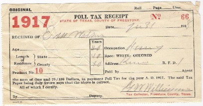 POLL TAX RECEIPT
